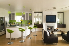 this eco friendly kitchen is green both literally and figuratively.green eco spec paint was used on walls and matched with modular bar stools and glass pendant lights.bamboo floors warm the room and top appliances with custom cabinetry make the room pop.