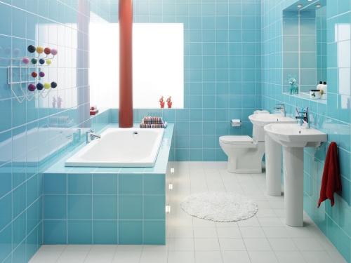 baie albastru cu alb