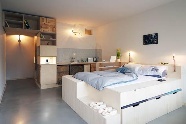 dormitor multi functional pe baza de lemn