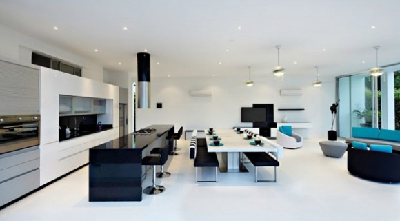 design minimalist living si bucatarie