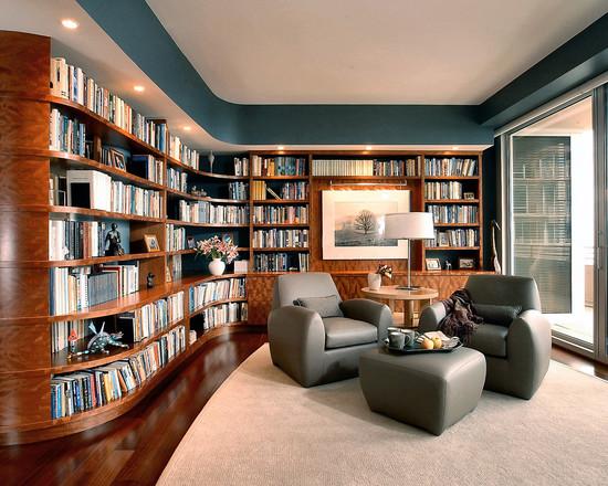 biblioteca mare moderna living