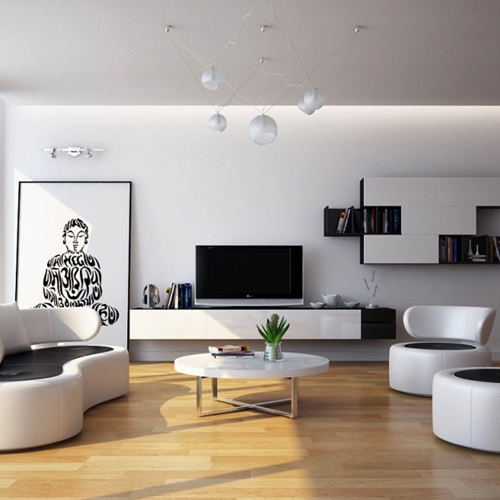Gorgeous-Living-Room-Inspiring-with-White-Wall-Paint-Color-and-And-Wooden-Floor-also-White-Sofa-Set-and-White-Coffee-Table-and-Single-Ottoman-and-Unique-Bookcase-and-TV-LCD